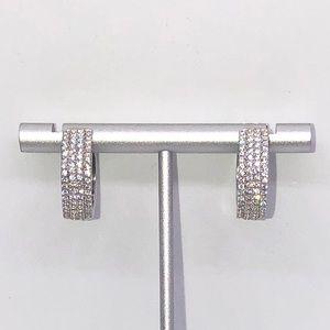 Silver Hoop Huggie Earrings